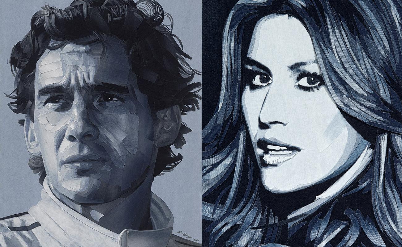 Nas mãos de Ian Berry, jeans descartado vira obra de arte: Ayrton Senna e Gisele Bünchen